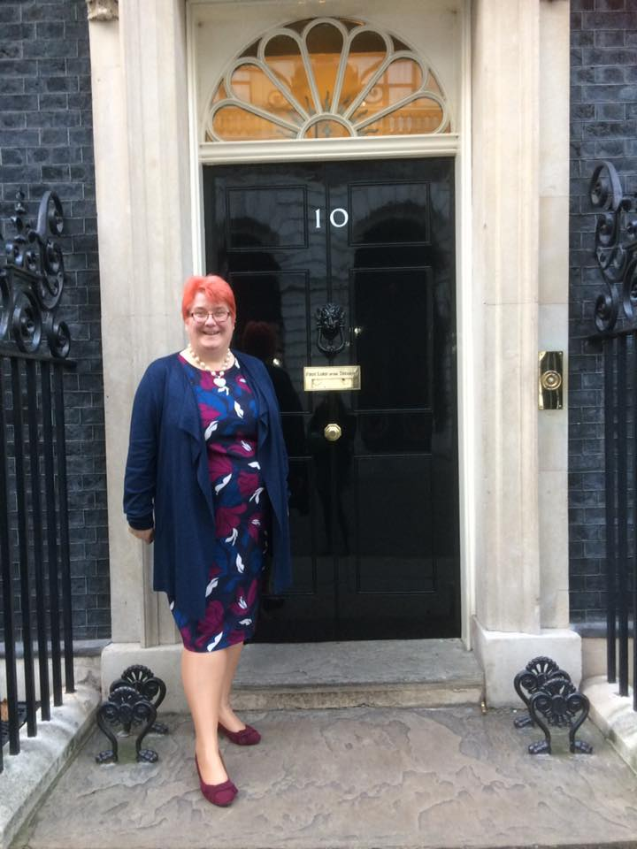 Shirley Crisp attending a function at number 10 Downing Street London for been one of the Top 100 small business in the UK.